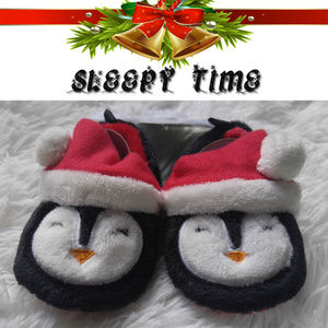 NEW Sleepy Time Christmas Penguin Slippers 12-18